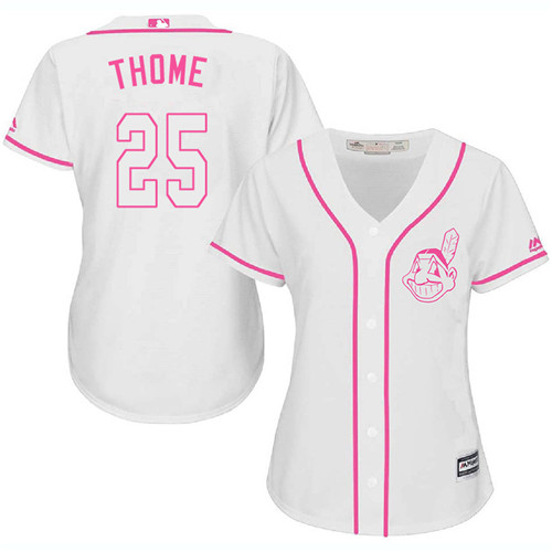 Women's Majestic Cleveland Indians #25 Jim Thome Authentic White Fashion Cool Base MLB Jersey