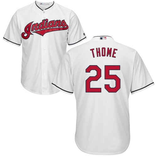Youth Majestic Cleveland Indians #25 Jim Thome Replica White Home Cool Base MLB Jersey