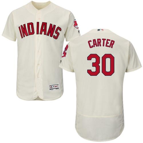 Men's Majestic Cleveland Indians #30 Joe Carter Cream Alternate Flex Base Authentic Collection MLB Jersey
