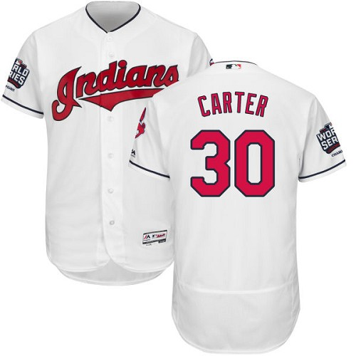 Men's Majestic Cleveland Indians #30 Joe Carter White 2016 World Series Bound Flexbase Authentic Collection MLB Jersey