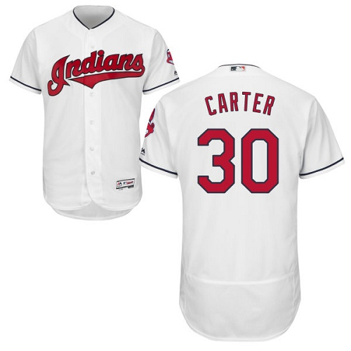 Men's Majestic Cleveland Indians #30 Joe Carter White Home Flex Base Authentic Collection MLB Jersey