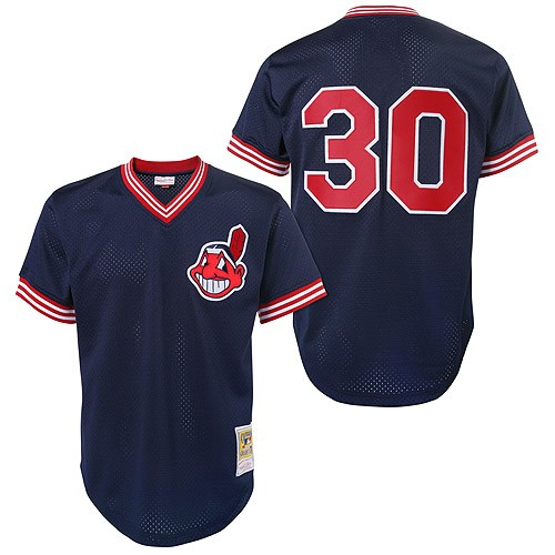 Men's Mitchell and Ness Cleveland Indians #30 Joe Carter Authentic Blue Throwback MLB Jersey