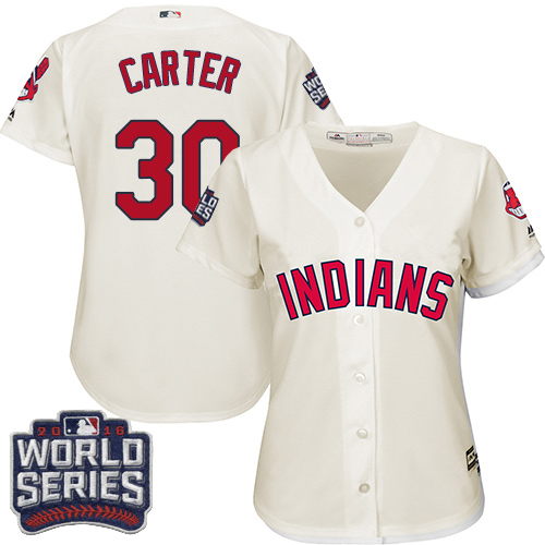 Women's Majestic Cleveland Indians #30 Joe Carter Authentic Cream Alternate 2 2016 World Series Bound Cool Base MLB Jersey