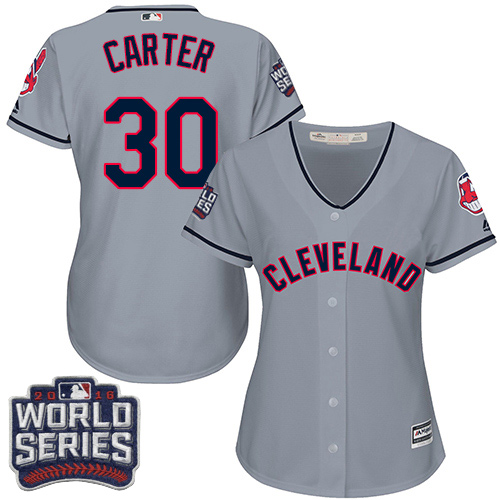 Women's Majestic Cleveland Indians #30 Joe Carter Authentic Grey Road 2016 World Series Bound Cool Base MLB Jersey