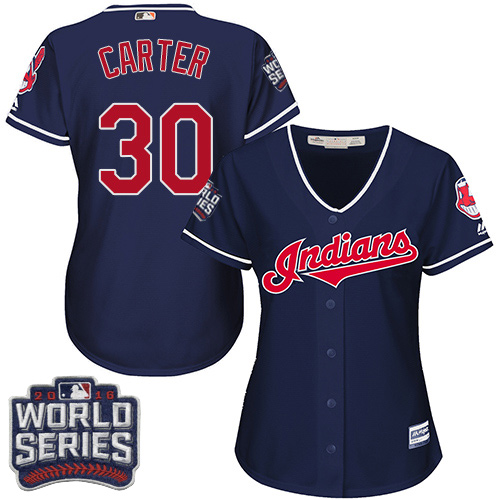 Women's Majestic Cleveland Indians #30 Joe Carter Authentic Navy Blue Alternate 1 2016 World Series Bound Cool Base MLB Jersey