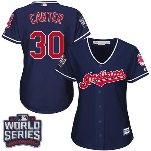 Women's Majestic Cleveland Indians #30 Joe Carter Authentic Navy Blue Alternate 1 2016 World Series Bound Cool Base MLB Jersey