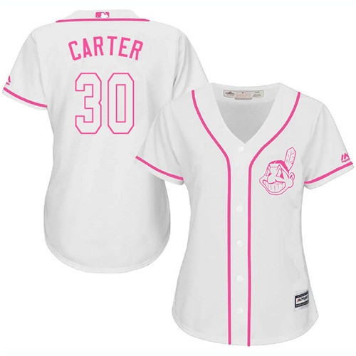 Women's Majestic Cleveland Indians #30 Joe Carter Authentic White Fashion Cool Base MLB Jersey