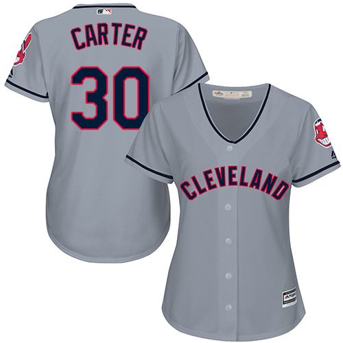 Women's Majestic Cleveland Indians #30 Joe Carter Replica Grey Road Cool Base MLB Jersey