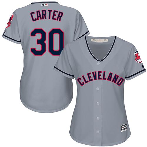 Women's Majestic Cleveland Indians #30 Joe Carter Replica Grey Road Cool Base MLB Jersey