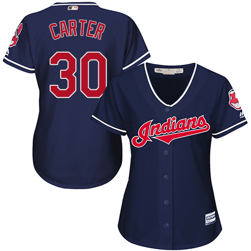 Women's Majestic Cleveland Indians #30 Joe Carter Replica Navy Blue Alternate 1 Cool Base MLB Jersey