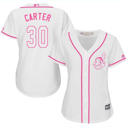 Women's Majestic Cleveland Indians #30 Joe Carter Replica White Fashion Cool Base MLB Jersey