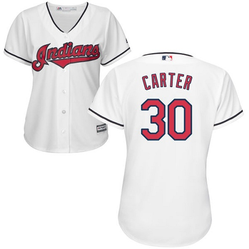 Women's Majestic Cleveland Indians #30 Joe Carter Replica White Home Cool Base MLB Jersey