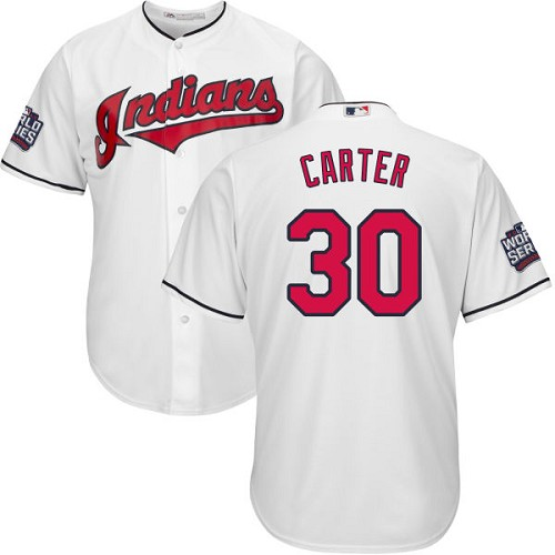 Youth Majestic Cleveland Indians #30 Joe Carter Authentic White Home 2016 World Series Bound Cool Base MLB Jersey
