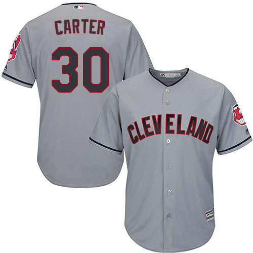 Youth Majestic Cleveland Indians #30 Joe Carter Replica Grey Road Cool Base MLB Jersey