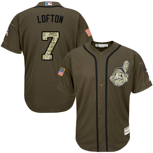 Men's Majestic Cleveland Indians #7 Kenny Lofton Authentic Green Salute to Service MLB Jersey