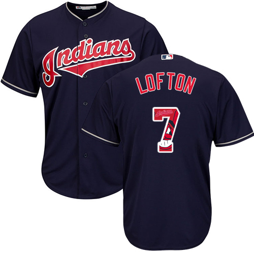 Men's Majestic Cleveland Indians #7 Kenny Lofton Authentic Navy Blue Team Logo Fashion Cool Base MLB Jersey