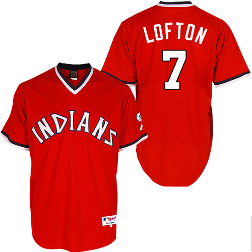 Men's Majestic Cleveland Indians #7 Kenny Lofton Authentic Red 1978 Turn Back The Clock MLB Jersey