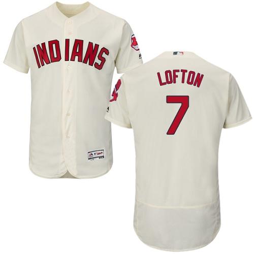 Men's Majestic Cleveland Indians #7 Kenny Lofton Cream Alternate Flex Base Authentic Collection MLB Jersey