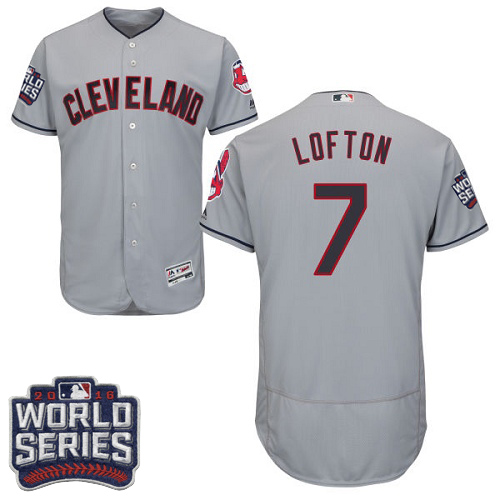 Men's Majestic Cleveland Indians #7 Kenny Lofton Grey 2016 World Series Bound Flexbase Authentic Collection MLB Jersey