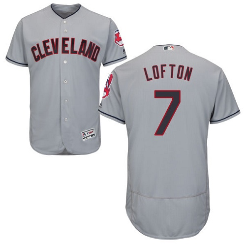 Men's Majestic Cleveland Indians #7 Kenny Lofton Grey Road Flex Base Authentic Collection MLB Jersey