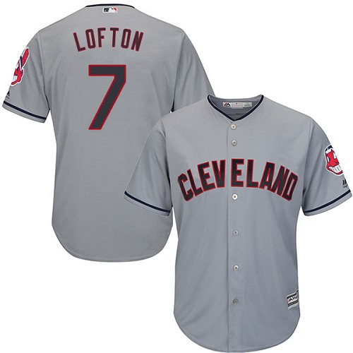 Men's Majestic Cleveland Indians #7 Kenny Lofton Replica Grey Road Cool Base MLB Jersey