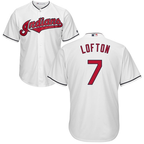 Men's Majestic Cleveland Indians #7 Kenny Lofton Replica White Home Cool Base MLB Jersey