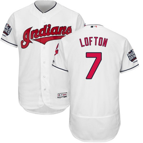 Men's Majestic Cleveland Indians #7 Kenny Lofton White 2016 World Series Bound Flexbase Authentic Collection MLB Jersey