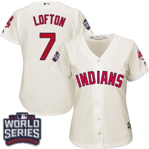 Women's Majestic Cleveland Indians #7 Kenny Lofton Authentic Cream Alternate 2 2016 World Series Bound Cool Base MLB Jersey