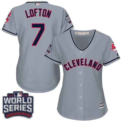 Women's Majestic Cleveland Indians #7 Kenny Lofton Authentic Grey Road 2016 World Series Bound Cool Base MLB Jersey