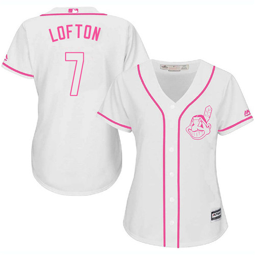 Women's Majestic Cleveland Indians #7 Kenny Lofton Authentic White Fashion Cool Base MLB Jersey