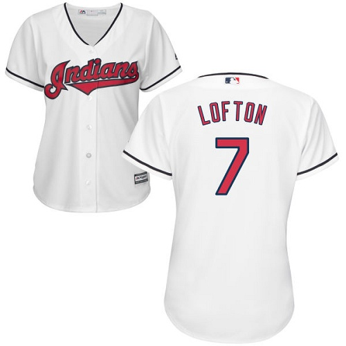 Women's Majestic Cleveland Indians #7 Kenny Lofton Authentic White Home Cool Base MLB Jersey