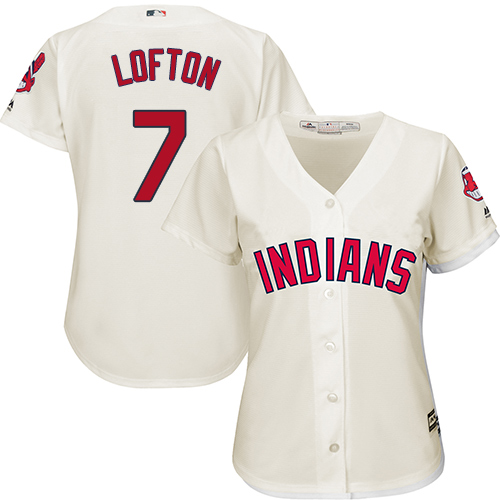 Women's Majestic Cleveland Indians #7 Kenny Lofton Replica Cream Alternate 2 Cool Base MLB Jersey