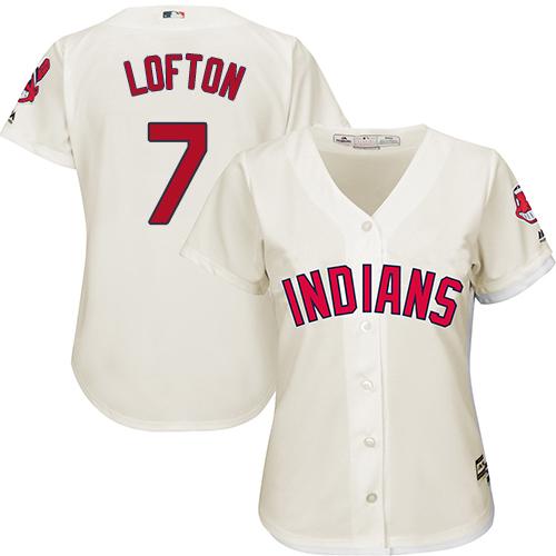 Women's Majestic Cleveland Indians #7 Kenny Lofton Replica Cream Alternate 2 Cool Base MLB Jersey