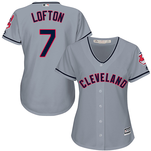 Women's Majestic Cleveland Indians #7 Kenny Lofton Replica Grey Road Cool Base MLB Jersey