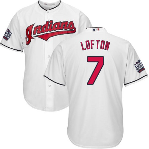 Youth Majestic Cleveland Indians #7 Kenny Lofton Authentic White Home 2016 World Series Bound Cool Base MLB Jersey