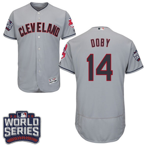 Men's Majestic Cleveland Indians #14 Larry Doby Grey 2016 World Series Bound Flexbase Authentic Collection MLB Jersey