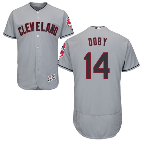 Men's Majestic Cleveland Indians #14 Larry Doby Grey Road Flex Base Authentic Collection MLB Jersey