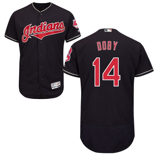 Men's Majestic Cleveland Indians #14 Larry Doby Navy Blue Alternate Flex Base Authentic Collection MLB Jersey
