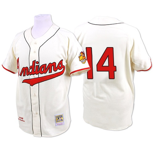 Men's Mitchell and Ness 1948 Cleveland Indians #14 Larry Doby Authentic Cream Throwback MLB Jersey
