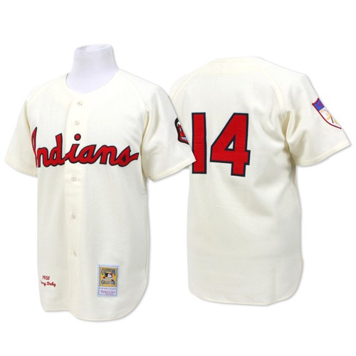 Men's Mitchell and Ness Cleveland Indians #14 Larry Doby Replica Cream Throwback MLB Jersey