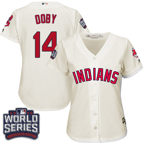 Women's Majestic Cleveland Indians #14 Larry Doby Authentic Cream Alternate 2 2016 World Series Bound Cool Base MLB Jersey