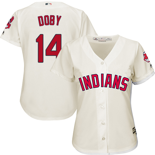 Women's Majestic Cleveland Indians #14 Larry Doby Replica Cream Alternate 2 Cool Base MLB Jersey