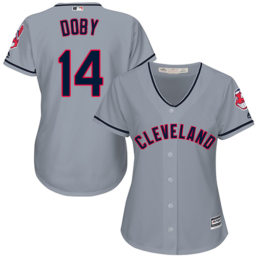 Women's Majestic Cleveland Indians #14 Larry Doby Replica Grey Road Cool Base MLB Jersey