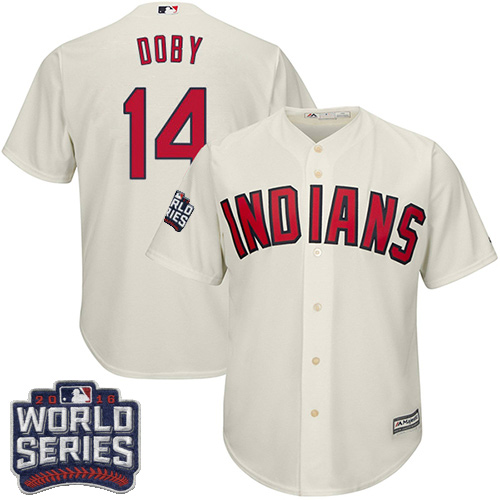 Youth Majestic Cleveland Indians #14 Larry Doby Authentic Cream Alternate 2 2016 World Series Bound Cool Base MLB Jersey