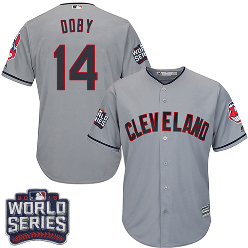 Youth Majestic Cleveland Indians #14 Larry Doby Authentic Grey Road 2016 World Series Bound Cool Base MLB Jersey