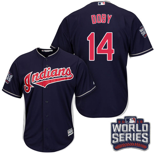 Youth Majestic Cleveland Indians #14 Larry Doby Authentic Navy Blue Alternate 1 2016 World Series Bound Cool Base MLB Jersey