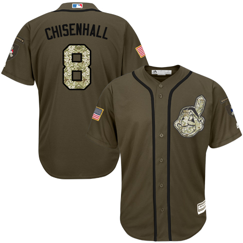 Men's Majestic Cleveland Indians #8 Lonnie Chisenhall Authentic Green Salute to Service MLB Jersey