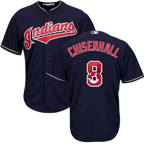 Men's Majestic Cleveland Indians #8 Lonnie Chisenhall Authentic Navy Blue Team Logo Fashion Cool Base MLB Jersey