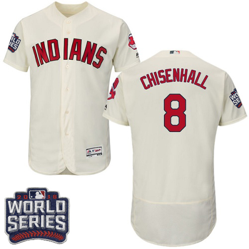 Men's Majestic Cleveland Indians #8 Lonnie Chisenhall Cream 2016 World Series Bound Flexbase Authentic Collection MLB Jersey