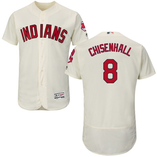 Men's Majestic Cleveland Indians #8 Lonnie Chisenhall Cream Alternate Flex Base Authentic Collection MLB Jersey